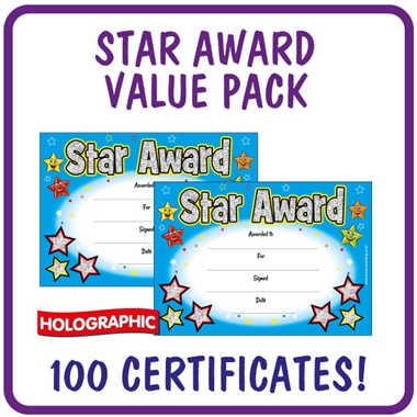 Holographic Star Award Certificates Value Pack (100 Certificates - A5)