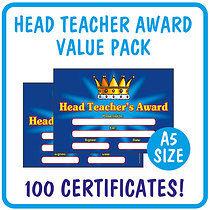 'Head Teacher's Award' Certificates (A5) x 100