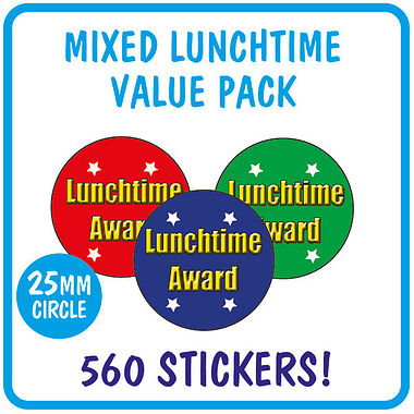 Value Pack of 560 Mixed Lunchtime Award 25mm Stickers