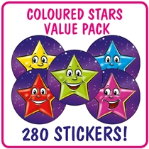 Value Pack of 560 Mixed Coloured Stars 25mm Stickers