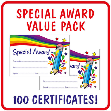 Sparkly Special Award Certificates Value Pack (100 Certificates - A5)