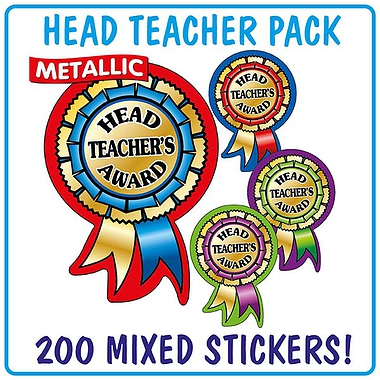 Metallic Head Teacher's Award Rosette Stickers Value Pack (200 Stickers - 54mm x 37mm) Brainwaves