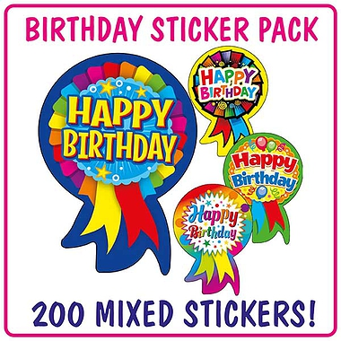 Happy Birthday Rosette Stickers (200 Stickers - 54mm x 37mm) Brainwaves