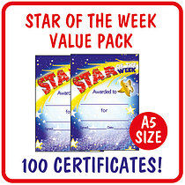 Value Pack of 100 Star of the Week A5 Certificates