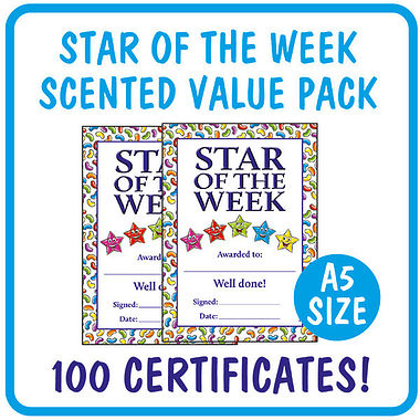 Jellybean Scented Star of the Week Certificates Value Pack (100 Certificates - A5)