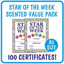 Value Pack of 100 Jellybean Scented Star of the Week Certifi
