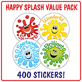 Happy Splash Stickers (400 Stickers - 32mm) Brainwaves