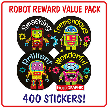 Robot Holographic Stickers (400 Stickers - 32mm) Brainwaves