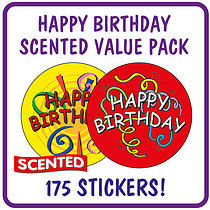 Value Pack of 175 Happy Birthday Strawberry Scented Stickers