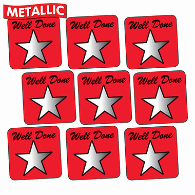 Sheet of 140 Red Well Done Metallic 16mm Square Stickers