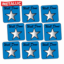 Metallic Star Stickers - Well Done - Blue (140 Stickers - 16mm)
