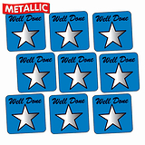 Sheet of 140 Blue Well Done Metallic 16mm Square Stickers