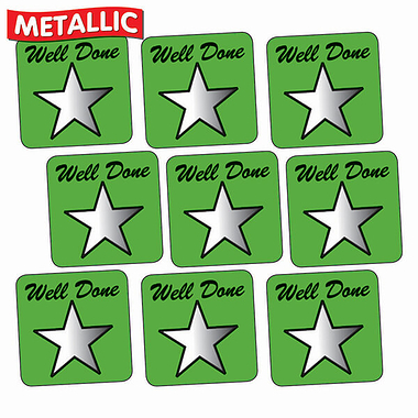 Metallic Star Stickers - Well Done - Green (140 Stickers - 16mm)