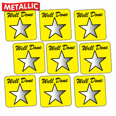 Sheet of 140 Yellow Well Done Metallic 16mm Square Stickers