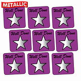 Sheet of 140 Purple Well Done Metallic 16mm Square Stickers