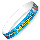 100% Attendance Wristbands - Blue (10 Wristbands - 220mm x 13mm) Brainwaves