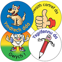 Sheet of 35 Mixed Welsh 37mm Circular Stickers