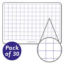 Pack of 30 A4 double-sided wipe clean squared whiteboards