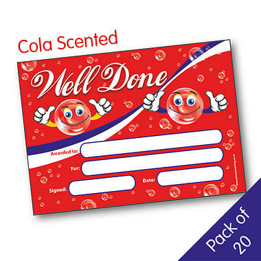 Cola Scented Well Done A5 Certificates - Pack of 20