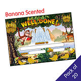 Pack of 20 Banana Scented Well Done Jungle Certificates