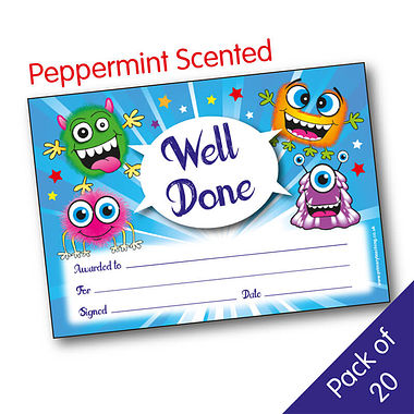 Pack of 20 Peppermint Scented Well Done Monster Certificates