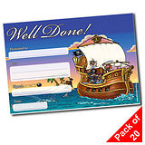 Pack of 20 Well Done Pirate A5 Certificates