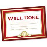 A5 Certificate: 'Well Done' - Pack of 20 - Red