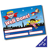 Pack of 20 Well Done Superhero A5 Certificates