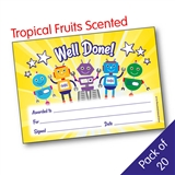Pack of 20 Toffee Popcorn Scented Well Done Certificates