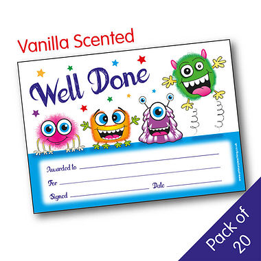Pack of 20 Vanilla Scented Well Done Monster Certificates