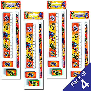 Pack of 4 Superhero Stationery Sets