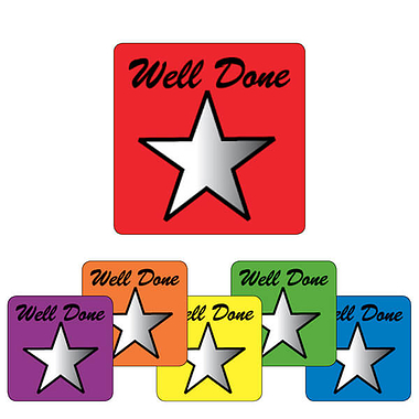 Metallic Star Stickers - Well Done (140 Stickers - 16mm)