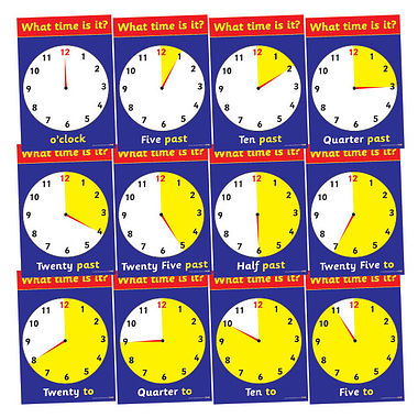 Pack of 12 A4 Tell the Time Analogue Clock Card Posters