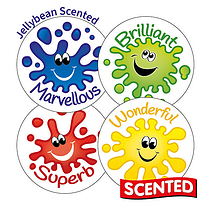 Sheet of 35 Star of the Day 37mm Citrus Scented Stickers