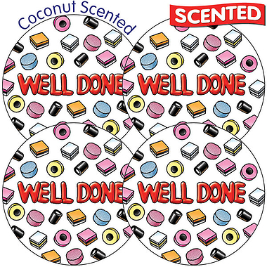 Sheet of 35 Well Done 37mm Coconut Scented Stickers
