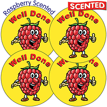 Sheet of 35 Well Done 37mm Raspberry Scented Stickers