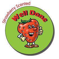 Sheet of 35 Well Done 37mm Strawberry Scented Stickers