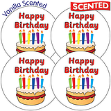 Sheet of 35 Happy Birthday 37mm Chocolate Scented Stickers