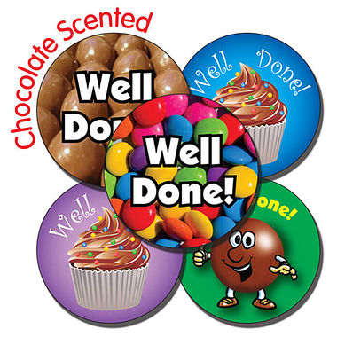 Sheet of 35 Mixed Well Done 37mm Chocolate Scented Stickers
