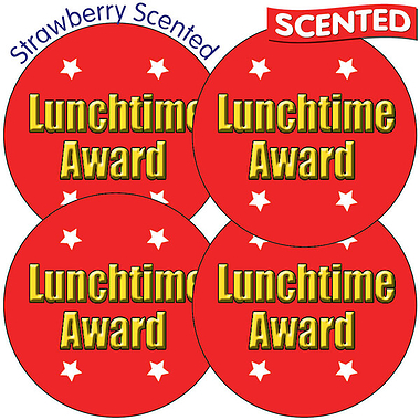35 x Lunchtime Award 37mm Strawberry Scented Stickers