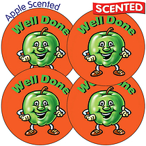 Sheet of 35 Well Done 37mm Apple Scented Stickers