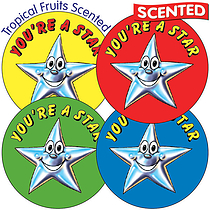 Scented Tropical Fruit Stickers - You're a Star (35 per sheet - 37mm)