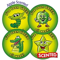 I've been Green All Week - Apple Scented 37mm Stickers x 35