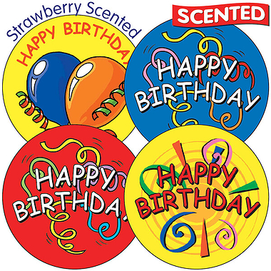 35 x Happy Birthday 37mm Strawberry Scented Stickers