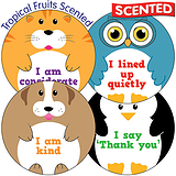 Scented Tropical Fruit Stickers - Mixed Manners (35 per sheet - 37mm)