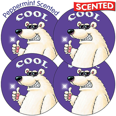 Scented Peppermint Stickers - Polar Bear (35 Stickers - 37mm)