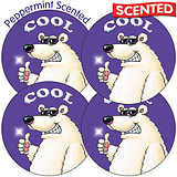 Sheet of 35 Cool 37mm Peppermint Scented Stickers