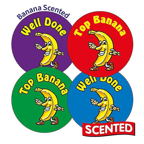 Sheet of 35 Top Banana 37mm Banana Scented Stickers: www.primaryteaching.co.uk/Products/X4/sheet-of-35-top-banana-37mm...