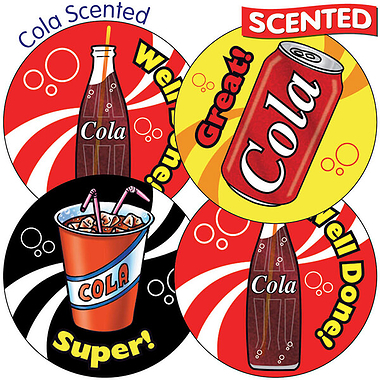 Sheet of 35 Mixed Wording 37mm Cola Scented Stickers