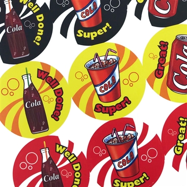 Scented Cola Stickers - Drinks (35 Stickers - 37mm)